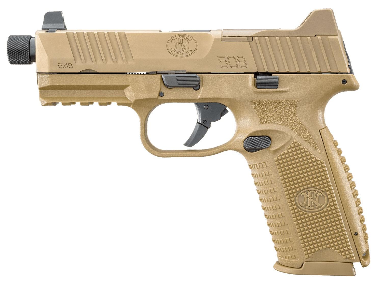 FN 66100383 FN 509 Tactical 9mm Luger Double 4.5 10+1 Flat Dark Earth Interchangeable Backstrap Grip Flat Dark Earth Stainless Steel left.jpg