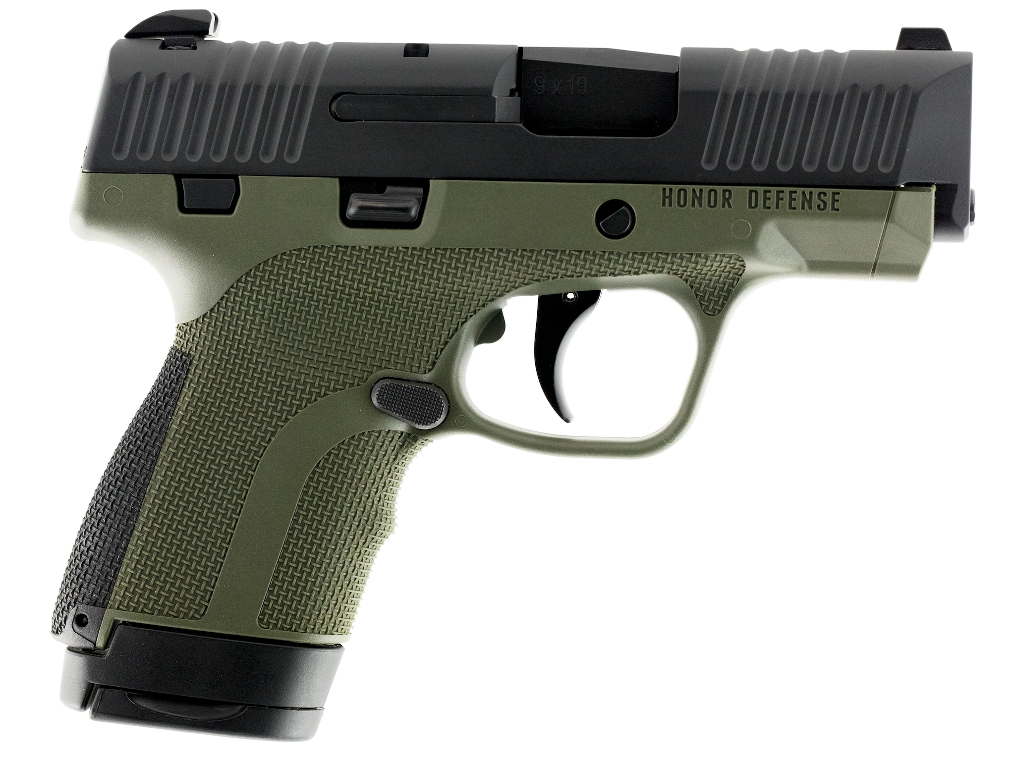 Honor Defense HG9SCOD Honor Guard Double 9mm Luger 3.2 7+1 OD Green Interchangeable Backstrap Grip Black Stainless Steel RIGHT.png