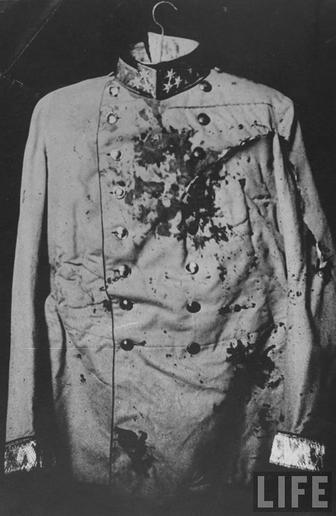 Bloodstained+coat,+start+WW1,+Yugoslav+Archduke+Franz+Ferdinand+1914