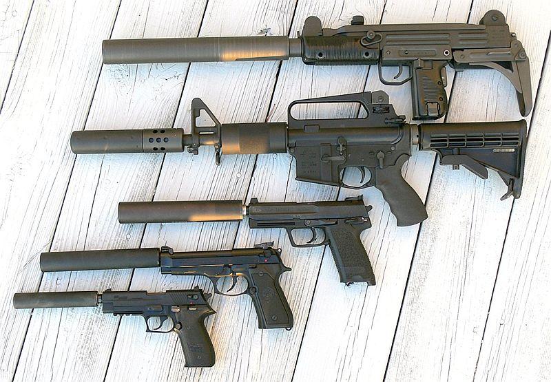 hunting guns displayed with silencers