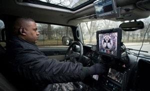 police officer in patrol car