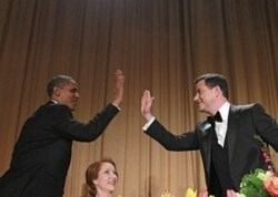 jimmy kimmel and obama high fiving at press dinner
