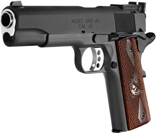 springfield armory range officer 1911 handgun tilted view