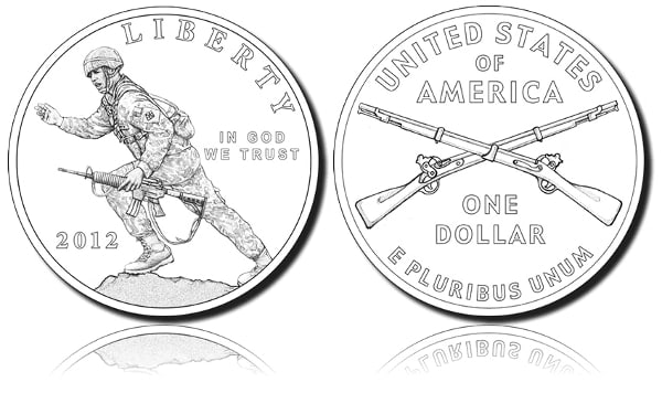 """The coin's obverse side (heads) features a modern Infantry soldier armed with an M4 rifle on rocky ground charging forward and beckoning the troops to follow, symbolizing the """"Follow Me"""" motto of the Infantry.  The reverse side (tails) is minted with the crossed flintlocks insignia, the branch insignia of the Infantry."""