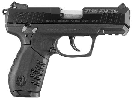ruger sr22 pistol on white background