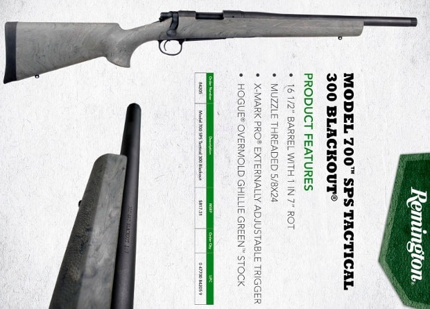 Remington Model 700 300 AAC Blackout 330 Blackout Bullets Sliencers ad