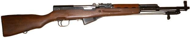 sks rifle on white background
