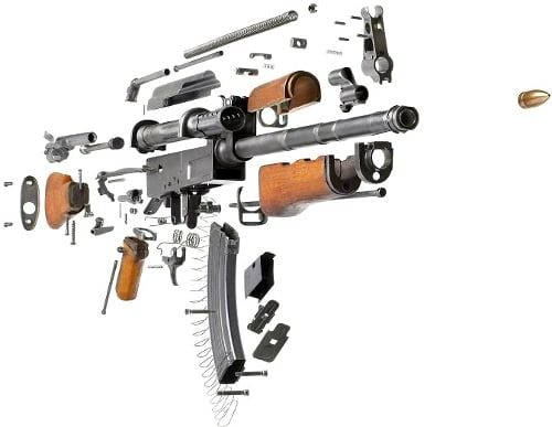 Schematics of an AK-47 broken down by components.