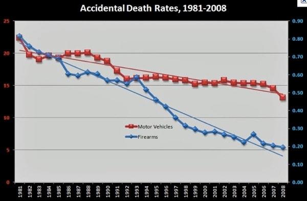 accidental gun death statistics 1981-2008 chart