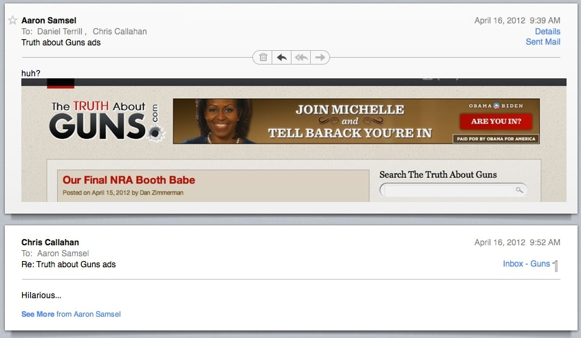 TTAG confirming that the best booth babe was Michelle Obama