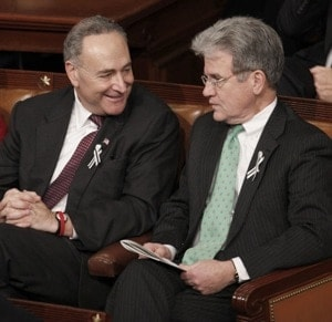Sen Charles Schumer and Sen Tom Coburn speaking