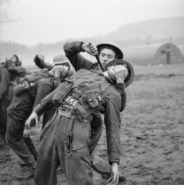 Commando training WWII, British soldiers.