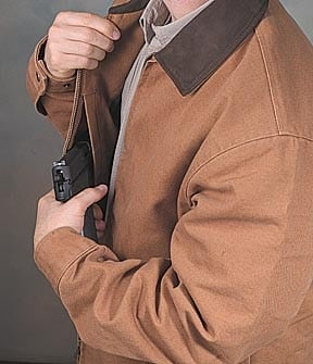 Man concealed carrying a firearm.