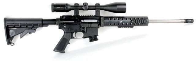 bolt action ar rifle on white background