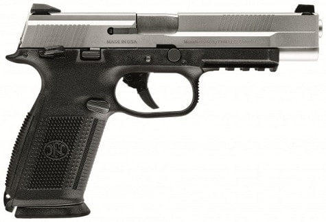 The new FNS-9 Competition pistol with a stainless steel slide