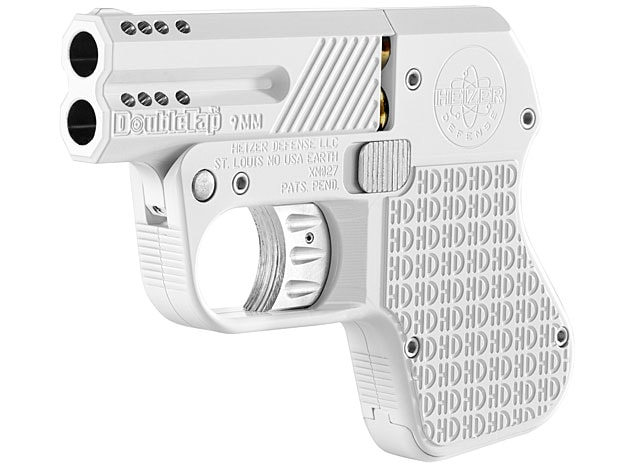 The Heizer DoubleTap, a 9mm derringer, in iPhone white.
