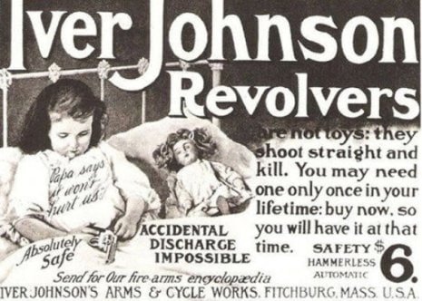 A little girl playing with a revolver in bed, the ad claims it's completely safe
