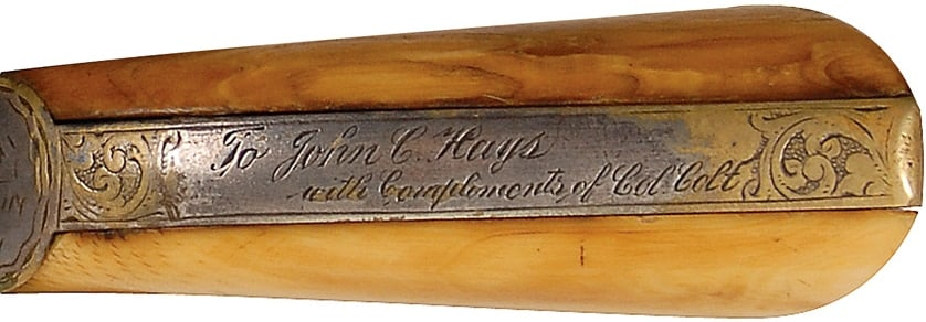"""Samuel Colt gave this pistol to John Coffee Hays with a personalized message. """"Col. Colt"""" engraved on the gun's backstrap."""