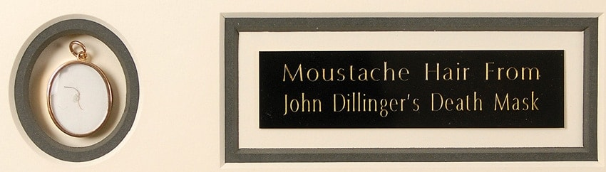 John Dillinger's moustache hair lifted from his death mask.
