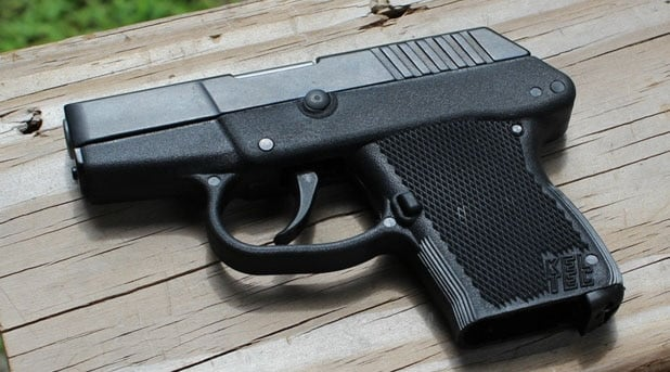 Kel Tec P3AT sitting on a table outdoors