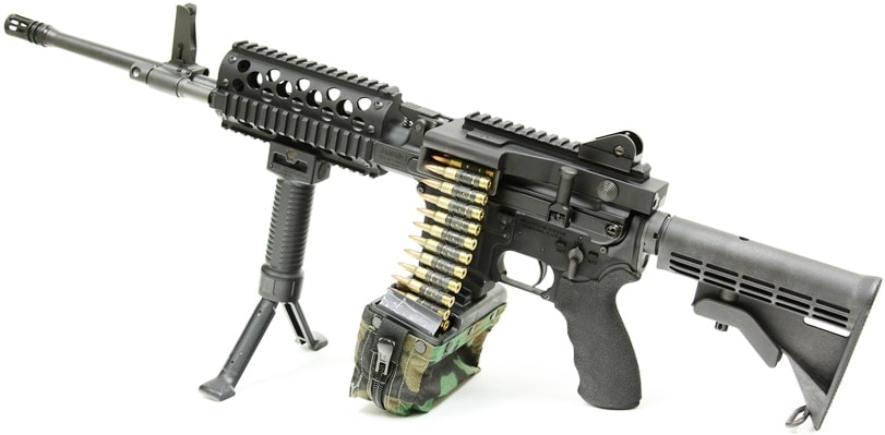MCR with belt-feed adapter and linked ammo