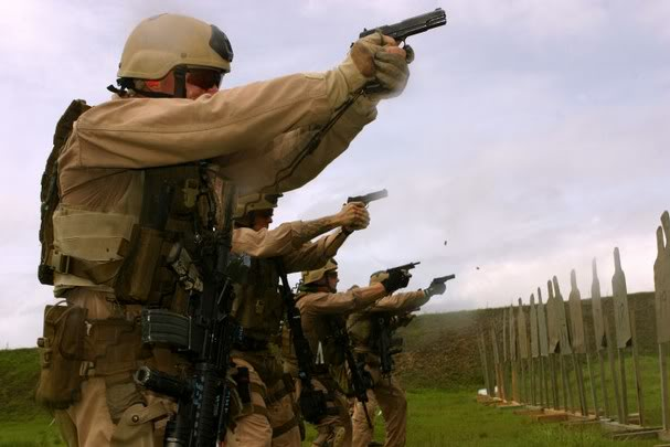 Marines Training with Pistols
