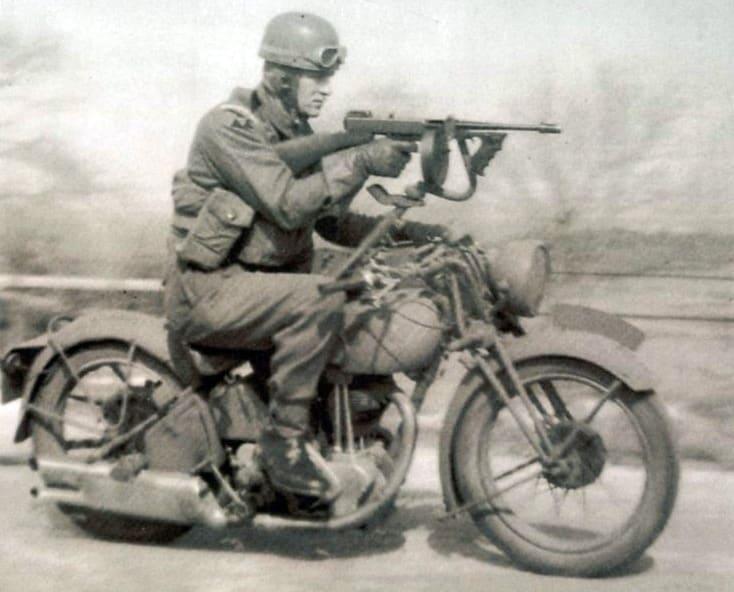 A Thompson mounted on a Norton Bike