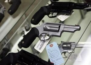 revolver sitting in gun shop