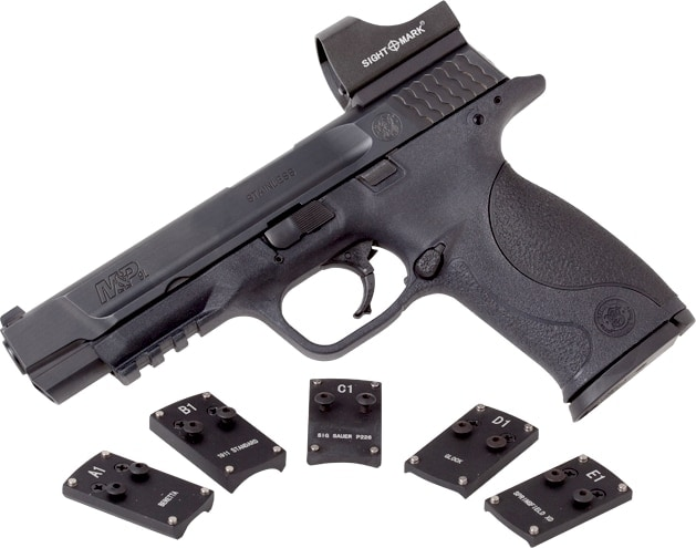 Mini Shot Pro Spec mounted on a M&P pistol with other mounts shown