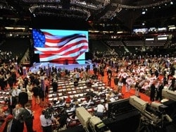Attendants gather around the stage at the Republican National Convention (RNC)