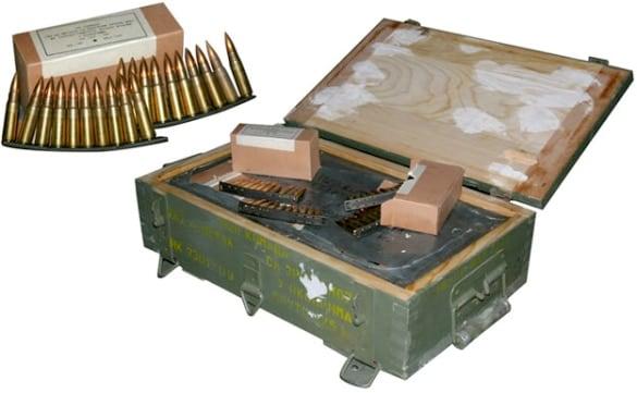 sks ammo box on white background