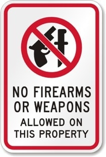 no weapons allowed on property sign