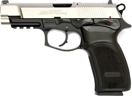 Bersa Thunder with a stainless steel slide and chambered in 9mm.