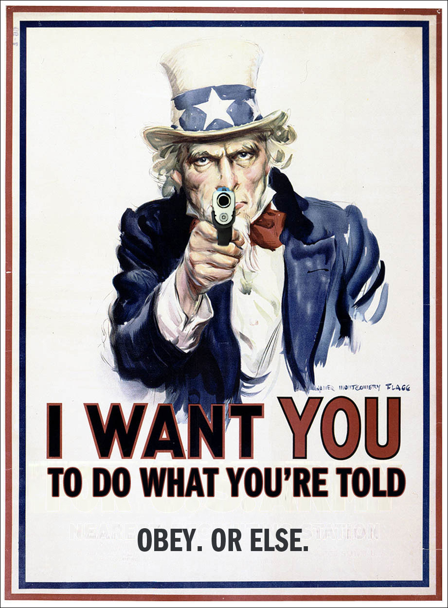 Uncle Sam with gun.