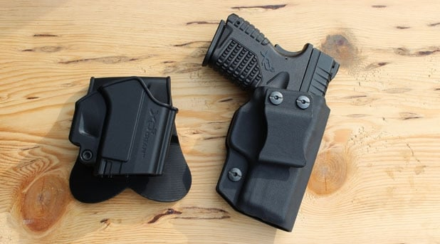 The XDS's stock holster next to a custom IWB Multi Holster