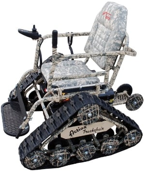 An Action Trackchair with digital camo finish