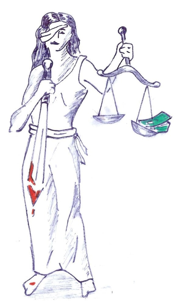 lady justice bloody sword drawing