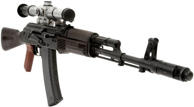 ak 47 rifle with scope on white background