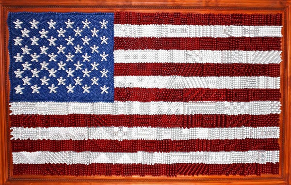 American flag made of spent casings and other ammo components we saw in downtown Chicago.