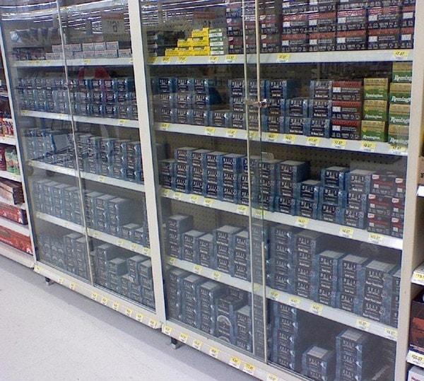 Ammunition in display case
