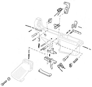 Schematics for a stripped AR lower receiver