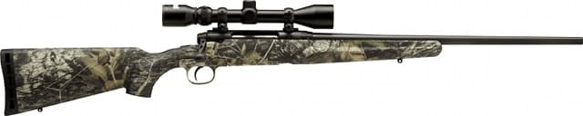 savage axis rifle with scope in camoflauge
