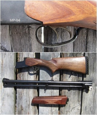 In the first picture is the Baikal MP94's double triggers, one for the shotgun barrel and the other for the rifle. The second picture is the MP94 field stripped.