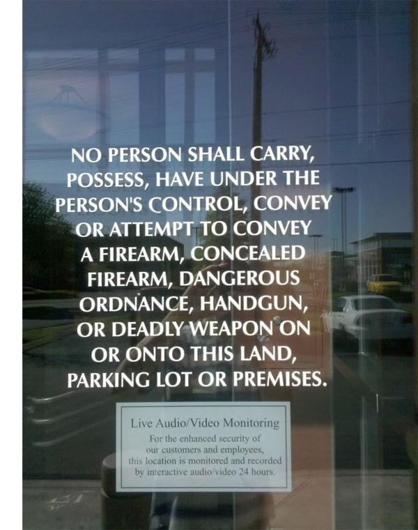 gun ban sign