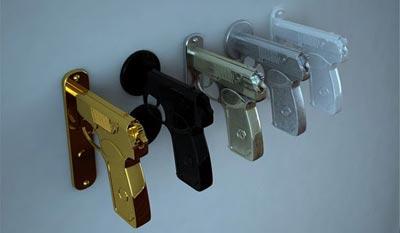 The Bang Bang Handle was inspired by the Marakov 9mm handgun.