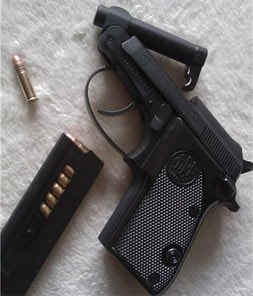 Beretta Bobcat with the tip-up barrel tipped up