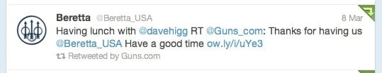 Guns.com and Beretta interact via Twitter