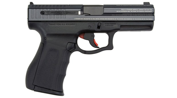 The 'Bill of Rights Gun' is a polymer framed pistol with the Bill of Rights printed on it.