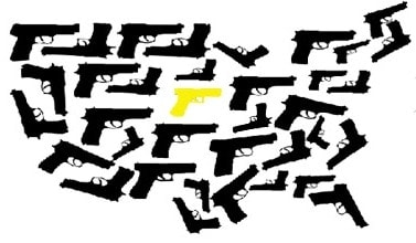 us map design consisting of handguns