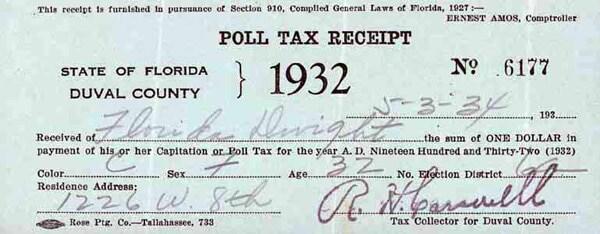 1932 poll tax receipt